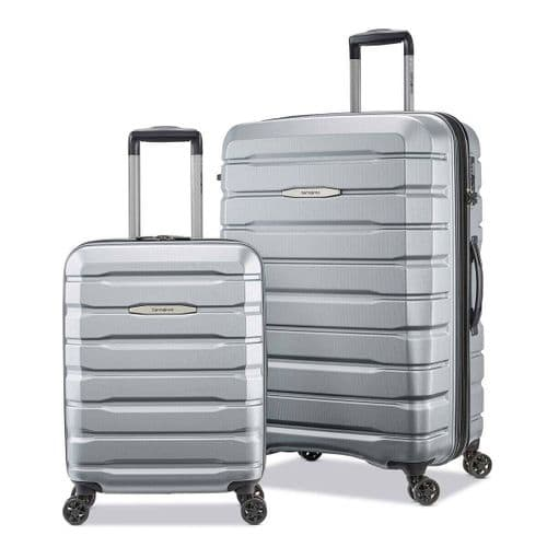 Samsonite Tech-3 Hardside 2 Piece Suitcase/Luggage Set Silver 4 Wheel Spinner